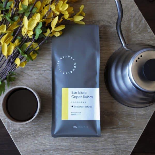 Velvet Sunrise San Isidro coffee beans bag