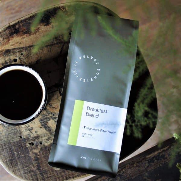 Velvet Sunrise Breakfast Blend coffee beans bag