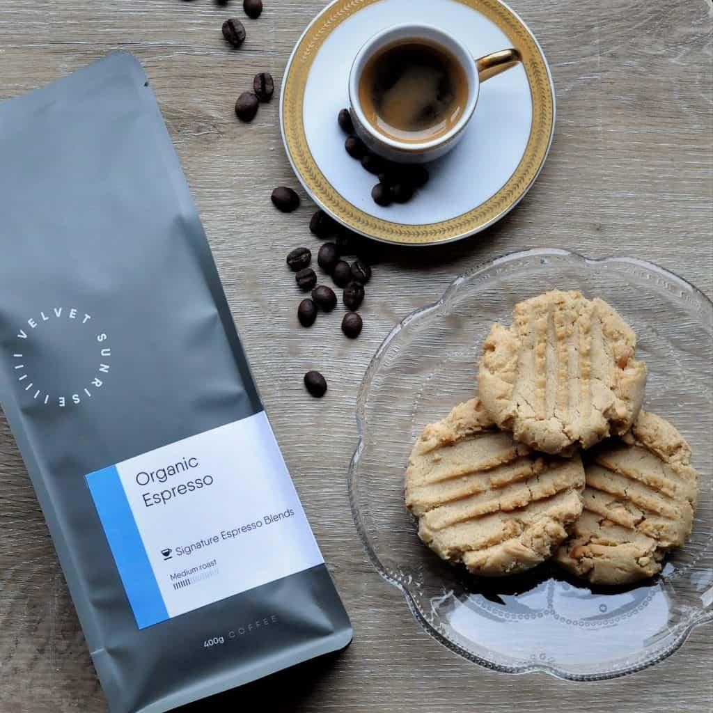 Velvet Sunrise Organic Espresso beans bag