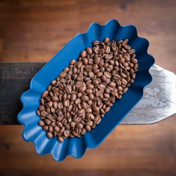 container of roasted coffee beans